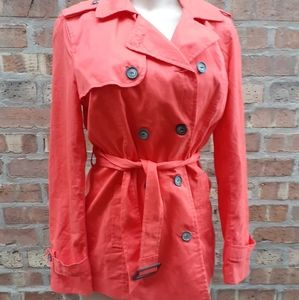 Coral cotton Trench Jacket Nwt M